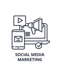 social media marketing line icon concept social vector image