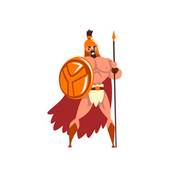 Spartan warrior in golden armor and red cape vector