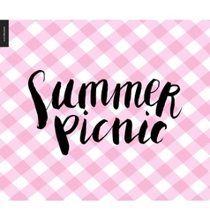 Summer picnic calligraphy on checkered plaid pink vector