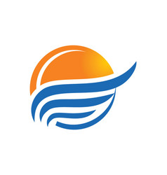 Sunset beach water abstract icon logo vector