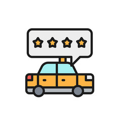 Taxi service rating service quality flat color vector