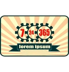 Timing badge symbol 7 24 365 on sunburst backdrop vector