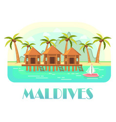Tropical resort at maldives with beach and ocean vector