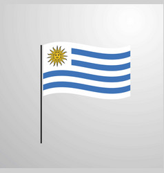 Uruguay waving flag vector
