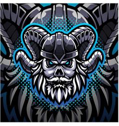 viking skull esport mascot logo vector image