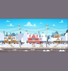 Village winter landscape house buildings with snow vector