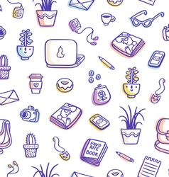 Whats on my table purple colorful seamless pattern vector image