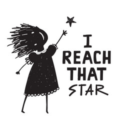 Woman or girl reach that star sign vector