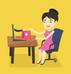 Woman shopping online vector