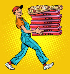 young man pizza boy food delivery vector image
