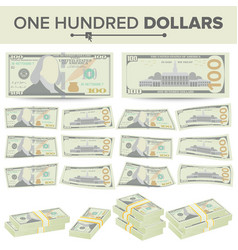 100 dollars banknote cartoon us currency vector image vector image