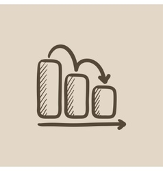 Bar chart down sketch icon vector image