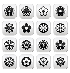 Flower head buttons set vector image