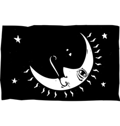 Moon Face and Rays vector image vector image