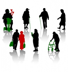 old and disabled people vector image vector image