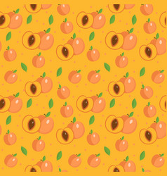 Peach seamless pattern apricot endless background vector