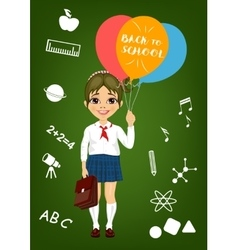 schoolgirl holding balloons with back to school vector image vector image