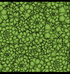 seamless pattern with succulents flowers drawings vector image