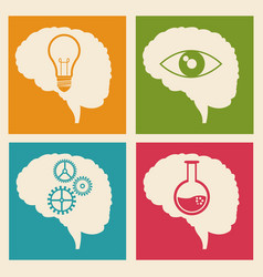 set brain idea learn gear vector image