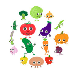 smiling vegetables icons set cartoon style vector image