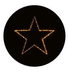 Star icon silhouette of gold lights vector