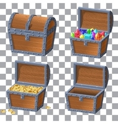 Wooden Chest set vector image vector image