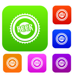 Beer bottle cap set collection vector