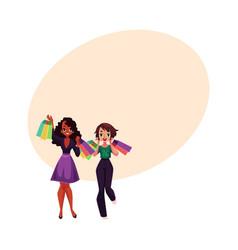 happy black and caucasian women girls friends vector image vector image