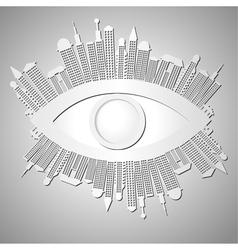 Abstract background with eye and buildings vector image vector image