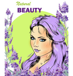 beautiful girl with lavender bouquet vector image vector image