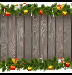 Christmas Border with Lollipop on Old Board vector image vector image