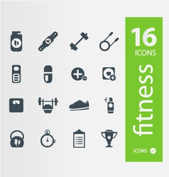 Fitness icons Set of 16 Quality icon vector image vector image