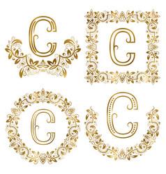 golden c letter ornamental monograms set heraldic vector image vector image