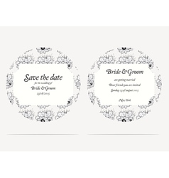 Wedding invitation cards with grey flowers vector image