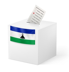 Ballot box with voting paper lesotho vector