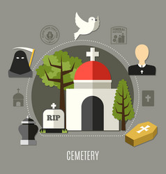 cemetery concept set vector image vector image