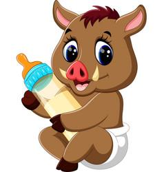 cute baby wild boar cartoon vector image