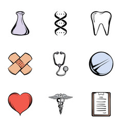 hospital icons set cartoon style vector image vector image