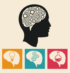 profile head brain development gears icons vector image