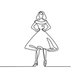 silhouette of slender woman in midi dress vector image