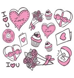 valentine doodle vector image vector image