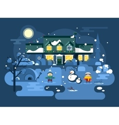 Winter night children play vector image