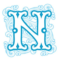 winter vintage letter N vector image vector image