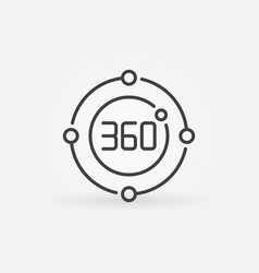 360 degrees circle concept icon in outline vector