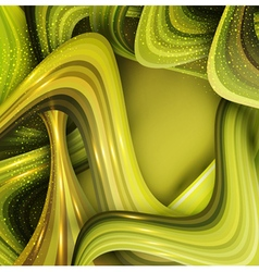 Abstract background with green waves vector