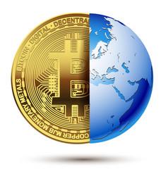 Abstract bitcoin inside planet earth vector