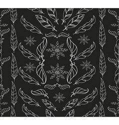 Abstract vintage feather and floral pattern vector image