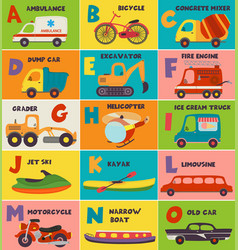 alphabet card with transport a to o vector image
