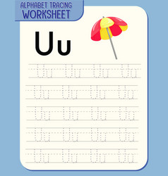 alphabet tracing worksheet with letter u and u vector image