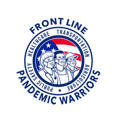American front line pandemic warriors circle icon vector